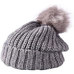 fablcrew mujeres Beanie gorro de punto con pompón gorro de lana para Snowboard gorro de sombreros, Gris, 56-58cm