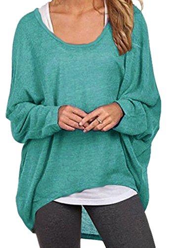 Meyison Damen Lose Asymmetrisch Sweatshirt Pullover Bluse Oberteile Oversized Tops T-shirt Grün-L
