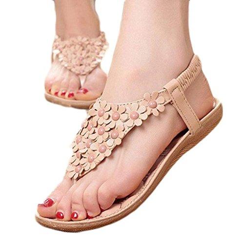 Voberry® 1 paio di Sandali Moda da Donna estivi Boemia con Perline, modello a infradito, (Adidas Mens Infradito)