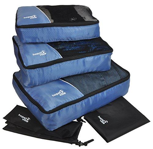 HOPEVILLE Kleidertaschen-Set 5-teilig, mit 3 Koffertaschen - Plus Einem Wäschebeutel und Einem Schuhbeutel, Premium Packing Cubes für perfekt organisiertes Reisegepäck (Blau)