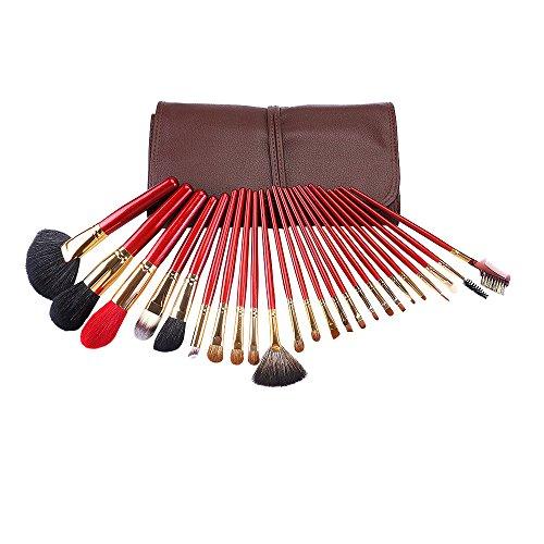 Brosse cosmétique Set 24 pcs avec contour poudre de fondation brosses luxueux cas brun lèvre fard à paupières