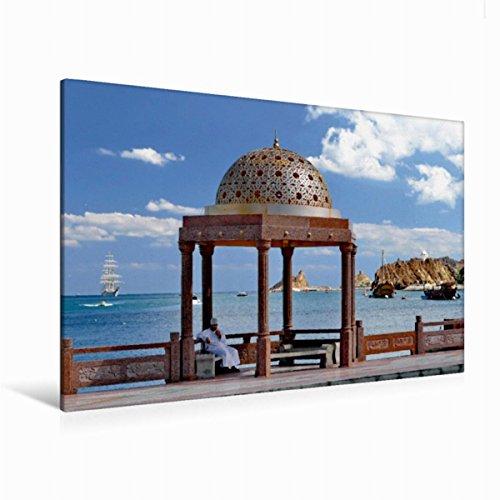 Premium Textil-Leinwand 120 cm x 80 cm quer Goldener Pavillon auf der Corniche in Muttrah, Muscat, Sultanat Oman | Wandbild, Bild auf Keilrahmen, Fertigbild auf echter Leinwand, Leinwanddruck