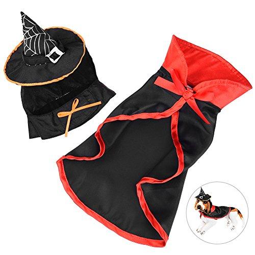 Petacc Haustier Kostüm in Vampir Schöne Hund Outfits Bequeme Vampir Haustier Kleidung mit Mütze und Umhang, geeignet für Hund (Katze Vampir Kostüm)