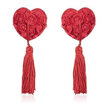 Czj-Innovation Donna riutilizzabile Silicone Nipple Cover Una coppia di Pasties A forma di cuore (A-Rosso)