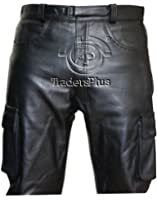 Mens Jeans Style Black Combat Leather Trouser
