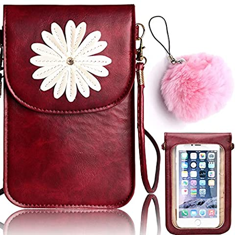 Vandot Shoulder Purse Body-cross Casual Satchel Pockets Cell Phone Wallet Clutch Card Coin Storage Bag with Two Compartments (One with Touch Screen for Phone) and Snap Closure for iPhone 7/7 Plus/Galaxy S8/S8 Plus/Huawei Mate 9-Flower [WINE RED]+Pompom