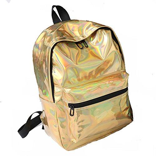 Windwelle Unisex Fashion Stil Mädchen Laser Rucksack Kunstlederrucksack Uni Schultasche Reisetasche Wasserdicht Von Elelife-Geschäft (Lila) Gold