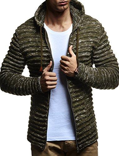 Leif Nelson Men's Knit Jacket with Hood Knitt Zip Up Cardigan Hoodie LN20724 Khaki