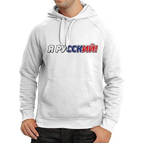 lepni.me Kapuzenpullover Я Русский, Ich Bin Russisch, Russische Kleidung (XX-Large Weiß Mehrfarben)