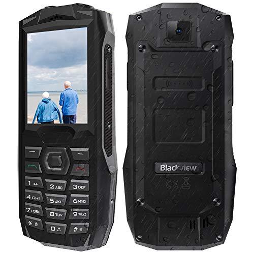 telefono cellulare per anziani 2.4'',con tasti funzione sos, blackview bv1000 rugged smartphone da 3000mah, tf 32gb, triplo slot 2 micro sims+1 microsd, fotocamera 0.3mp, grande oratore/led/fm radio