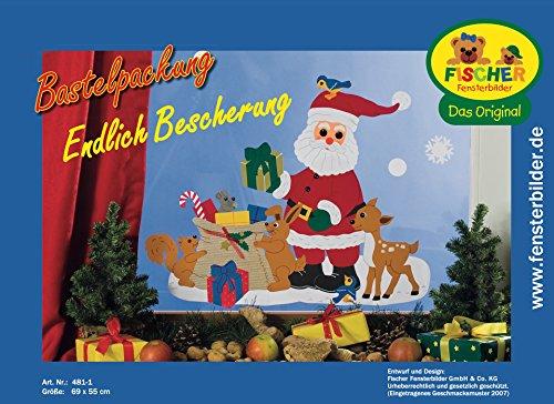 Fischer Fensterbild ENDLICH BESCHERUNG / Bastelpackung / Größe: 69x55 cm / zum Selberbasteln / Basteln zu Weihnachten aus Papier und Pappe