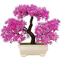 Künstliche Bonsai Baum Kunstpflanze Pflanze,Dekoration Wohnung Modern Pinien,Feng Shui Japanische Deko,Kunstbaum,Höhe ca. 20 cm (Rosa)