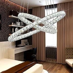 Deckenlampe Kronleuchter Tenlion Kristall LED Kronleuchter Pendelleuchte  Deckenleuchten Mit Zwei Ovalen Ringen 40 * 60cm Naturlicht