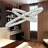 Deckenlampe Kronleuchter Tenlion Kristall LED Kronleuchter Pendelleuchte Deckenleuchten mit zwei ovalen Ringen 40 * 60cm Naturlicht für ein Esszimmer Wohnzimmer Schlafzimmer Arbeitszimmer etc.