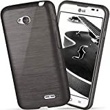 OneFlow Schutzhülle für LG L65 / L70 Hülle Silikon Case aus 1,5mm dünnem TPU | Zubehör Cover zum Handy Schutz | Handyhülle Bumper Tasche Gebürstet Aluminium Optik in Schwarz
