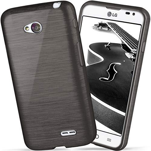 OneFlow Funda Protectora Funda LG L65 / L70 Carcasa Silicona TPU 1,5mm   Accesorios Cubierta protección móvil   Funda móvil paragolpes Bolso Cepillado Aluminio diseño en Slate-Black