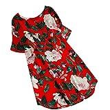 Kanpola Damen Kleider Elegant Frauen Frühling Große Größen Leinen Baumwolle Langarm Shirt Minikleid Blumen Kleid (EU-46/CN-3XL, Rot)