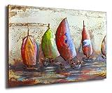 Phoenixarts Sailing Designer Metallbild 3D / Wandrelief/Segler Metall Bild Segeln Relief / 120x80x 6 cm
