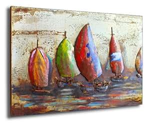 PhoenixArts Tableau métallique en 3 D Motif voiliers 120 x 80 x 6 cm