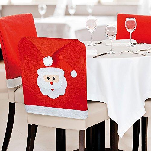 eBuyGB® Pack di 6 Santa faccia da pranzo coprisedie - decorazione di festa di Natale