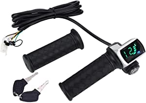 Fahrrad Gasgriff E Bike Lenker Griffe Geschwindigkeitsregelung Lenker Elektrische Fahrrad Lcd Display Lenker Mit Lock Switch Anzeige Sport Freizeit