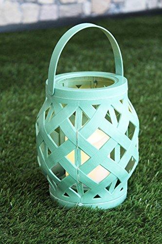 """Romantisch dekorative LED Laterne """" BEACH """" 16 cm x 13,5 cm - mit LED - Kerze - für Innen und Außen - Bereich - OUTDOOR - erhältlich in 3 tollen Farben - NEU - aus dem KAMACA - SHOP (Jade Grün)"""