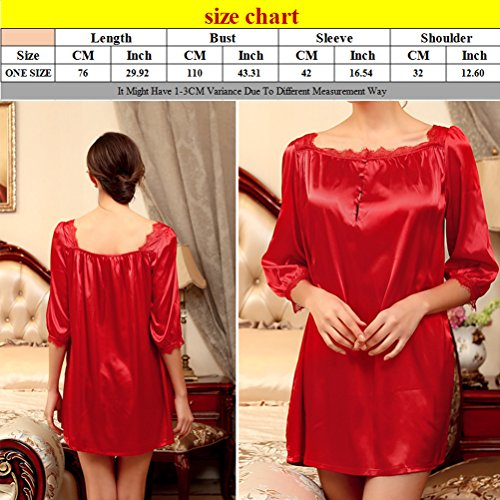 Zhhlinyuan Sexy Women's Soft Silk Lingerie Sleepwear Night Dress Free size SQ127 Coral Red