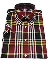 Warrior Jimmy Short Sleeved Vintage Gingham Retro Mod Button Down shirts