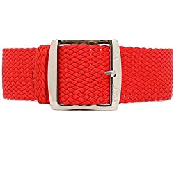 DaLuca Braided Nylon Perlon Watch Strap - Red (Polished Buckle) : 22mm