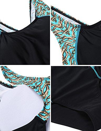 Damen sport swimwear badeanzug Einteiliger Schwimmanzug Schlankheits badeanzüge Swimsuit figurformend Bademode rückenfrei monokini mit Gekreuzte Träger Schwarz/Blaue Blume