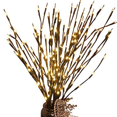 LEDMOMO Luces de rama, 2 Pack 20LED Tree Light Willow Twig Rama de árbol Lámpara con pilas de Navidad decorativa Warm White