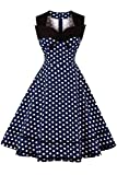 MisShow Damen Vintage Ärmellos Rockabilly Kleid Festlich Kleid Gepunkt Knielang Navy Blau S