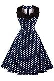 MisShow Damen 50er Jahre Rockabilly Retro Kleid Ballkleid Polka Dots Knielang Navy Blau XXXL