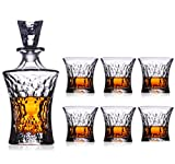 YYCDD Weinglas-Set, Kristall Whiskey-Glastasse Decanter Bierkrug Hitzebeständig Glasflasche Geschenkpackung, 7-teiliges Set