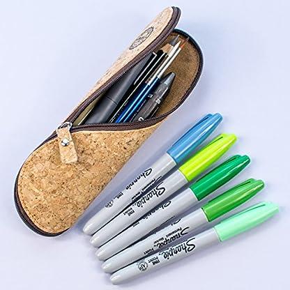 51iRRIeLXAL. SS416  - Estuche de gafas delgadas, estuche de lápices y cartuchera ~ Estuche suave de corcho portugués, estilo vintage, hecho a mano