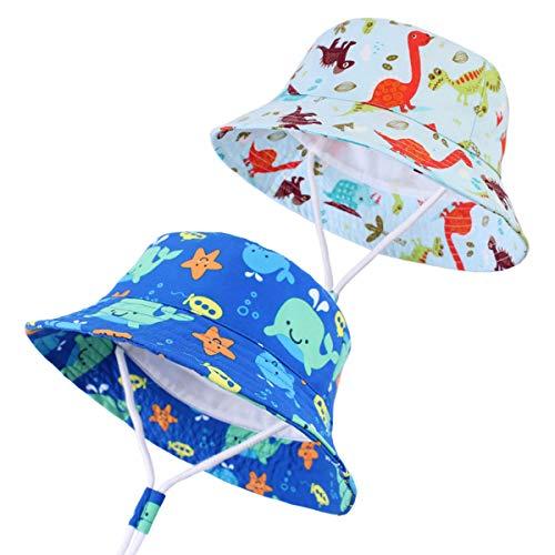 Eine Breite Von Sechs Tier (WINZIK 2 Stück Kleinkind Baby Kinder Jungen Mädchen Sonnenhut Sommer Outdoor UV-Schutz Eimer Cap mit verstellbarem Kinnriemen für 6-6 Jahre Gr. S, Set 1#)