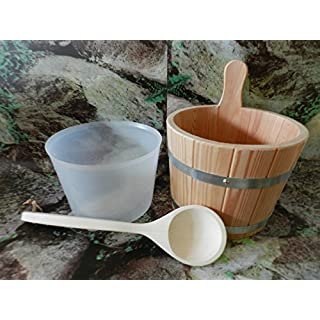 Sauna Set 3-Pieces PEFC Certified Larch Wood Sauna Bucket, Ladle with Plastic Inserts