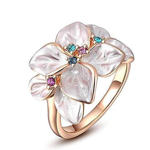 Klassische österreichische Kristalle Rose Gold Plated Anweisung Ring(1 Pc) , 8 (Frauen Österreichischen Kristall-ring)