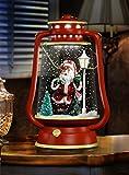Christmas Concepts® Lanterna nevicata del fienile con luci e suoni - Rosso e oro con Santa Design - Luci di Natale - Decorazioni natalizie