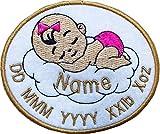 Personalisiertes Namensschild zum Aufnähen/Aufbügeln, personalisierbar, 99 x 96 mm, Weiß