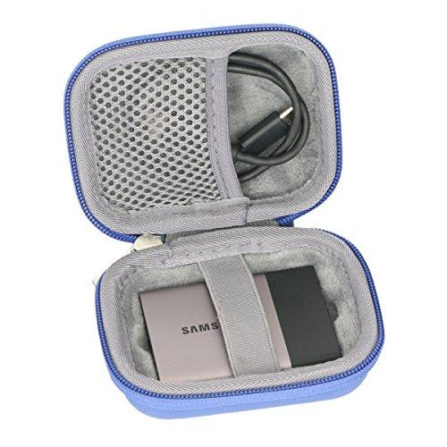 Étui de Voyage Rigide Housse Cas pour Samsung Disque Flash SSD externe par co2CREA (Bleu)
