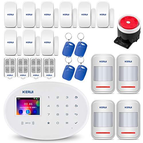 KERUI W20 GSM WiFi AP 2,4 GHz Funk Alarmanlage Komplettsystem DIY Kit Auto Dial/SMS/RFID/iOS Android App-Steuerung Push-Benachrichtigungen Intercom - Deutsch-sprachiges und App - Home Security Auto Dial