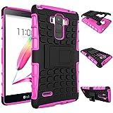 Qiaogle Teléfono Case - Shock Proof TPU + PC Hibrida Stents Carcasa Cover para LG G4 Stylus H635 / LG G Stylo / LS770 (5.7 Pulgadas) - HH07 / Rose