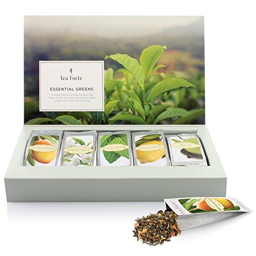 """Probierset""""Lebenswichtiges Grün"""" von Tea Forté, Teeblätter für Grünen Tee zum Aufgießen, Verschiedene Sorten, für 15 Tassen Tee"""