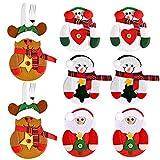 Faburo 8 Unidades Bolsita para Cubiertos de Navidad, Papa Noel Renos Muñeco de Nieve para Cubiertos, Decoracion de Mesa Adornos Navideños para Cena de la Tabla para sostener Tenedor y Cuchara