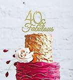 LissieLou 40 & Fabulous - Glitter Gold 40th Birthday Cake Topper - Swirly