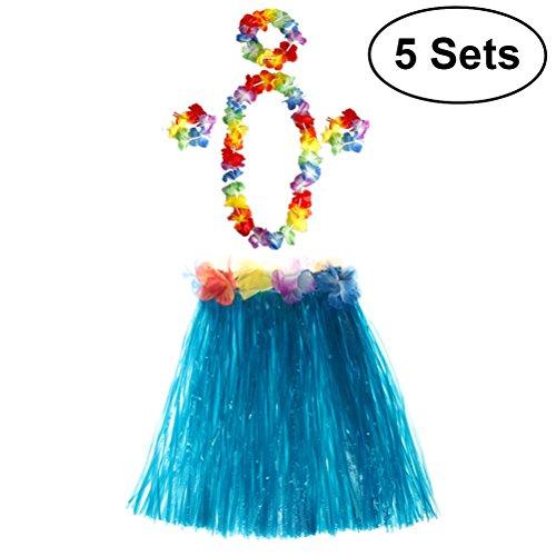 TOYMYTOY 5 Sätze Tropical Hula Gras Rock Hawaiian Kostüm Set Kinder Blume Leis Armbänder Stirnband Halskette Set ()