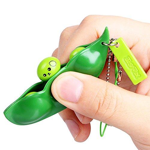 Squeeze-a-Bean Squishy Sojabohnen-Anhänger Spielzeug mit reduziert Angst und Stress, Zappelspielzeug, Squeeze-a-Bean Schlüsselanhänger, Handykette, Erbsen ()