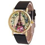 Sanwood Armbanduhr, Unisex, mit großen Ziffern, Kunstlederband, Design mit Strasssteinen Gr. Einheitsgröße, Black_Effiel Tower