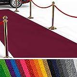 etm Hochwertiger Messeteppich Meterware | Rollteppich VIP Eventteppich, Hollywood Läufer, Hochzeitsteppich | 18 Farben in 23 Größen | Dunkelrot - 200x300 cm